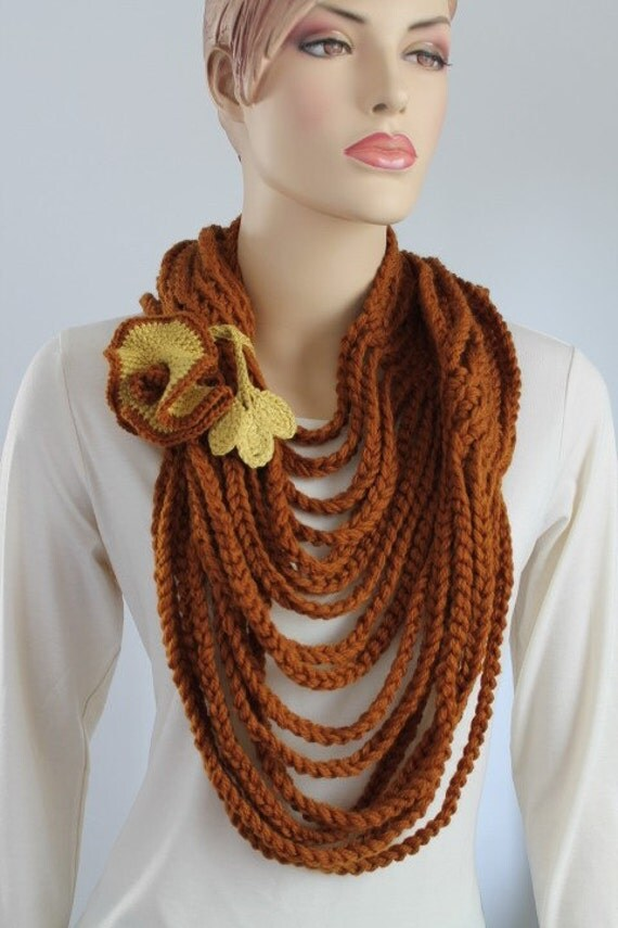 On Sale 20% OFF Gold Yellow Crochet  Loop  Scarf  Capelet - Cowl Scarf - Neck Warmer