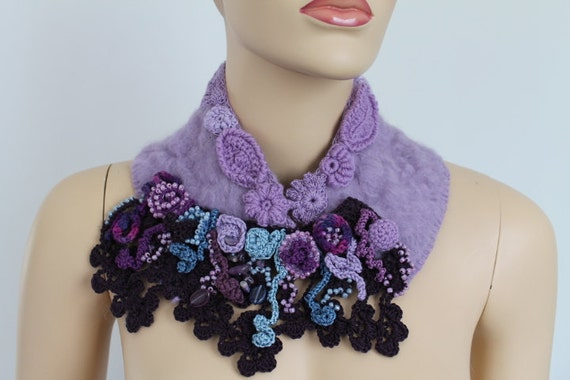 Felted Freeform Crochet Scarf -  Wearable Art - Holiday Accessories