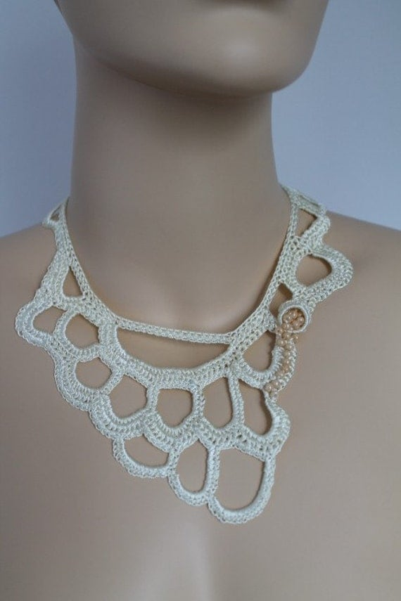Fall Fashion Ivory Crochet Necklace Crochet Jewelry Lace Holiday Accessories