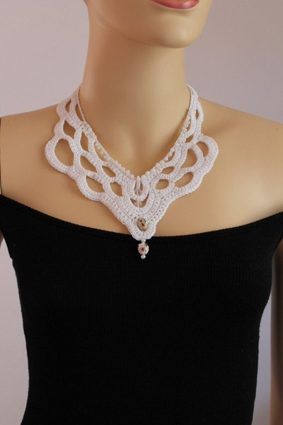 Fall Fashion White Crochet Necklace Crochet Jewelry Lace Holiday Accessories