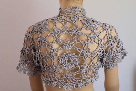 Crochet  Cotton Grey  Shrug Bolero / Fall  Spring Fashion