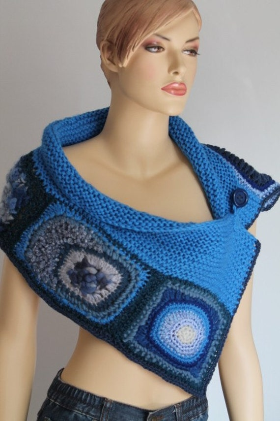 Hand Knitted and Crocheted  Scarf  Capelet in Shades of  Blue - Fall Fashion