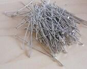 100 Headpins 35mm silver tone