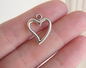 10 Heart charms antique silver tone H1