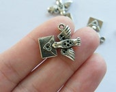 8 Homing pigeon carrying love letter charms antique silver tone B65
