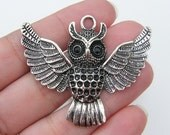 1 Owl pendant 44 x 51mm tibetan silver