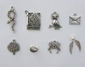 The Wizard Charms Collection - 10 antique silver tone charms