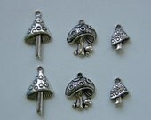 The Mushroom Collection - 6 antique silver tone mushroom charms, 3 different types
