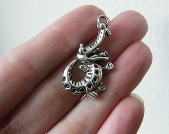6 Crocodile pendants antique silver tone A17