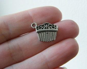 8 Hair comb or hair slide charms antique silver tone P224