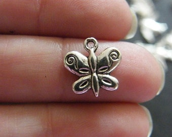 BULK 50 Butterfly charms antique silver tone A357