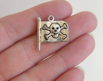 BULK 40 Jolly Roger pirate flag charms antique silver tone P165