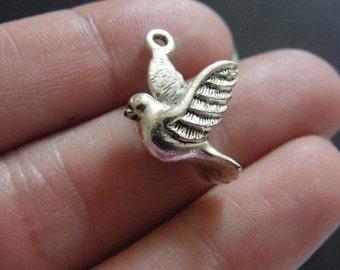 BULK 20 Dove  charms antique silver tone B6