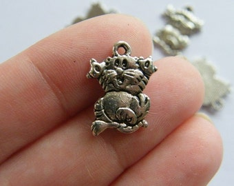 10 Cat charms antique silver tone CT6