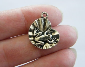 BULK 50 Frog on lily pad  charms antique silver tone L10