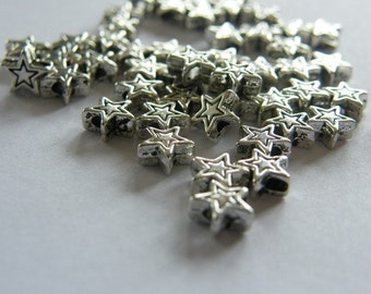 50 Star spacer beads antique silver tone S21