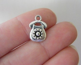 10 Telephone charms antique silver tone PT56