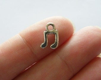 18 Music note charms antique silver tone MN4