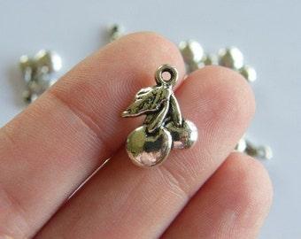 BULK 40 Cherries charms antique silver tone FD189