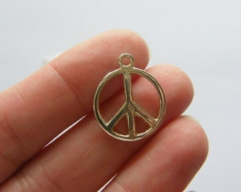 10 Peace sign charms antique silver tone P10