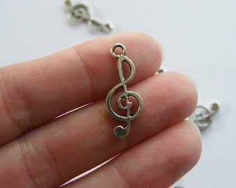 10 Music note charms tibetan silver MN3