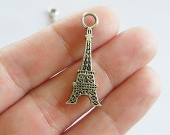 BULK 50 Eiffel tower charms antique silver tone WT32