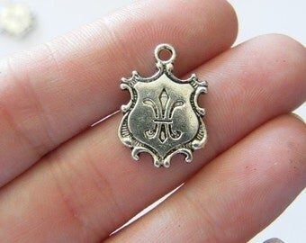 6 Crest charms tibetan silver SW28