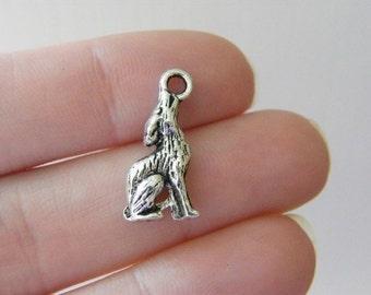 BULK 50 Wolf charms tibetan silver A285