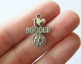 BULK 30 I love soccer charms tibetan silver SP24