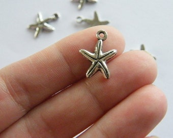 BULK 50 Starfish charms antique silver tone FF209