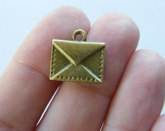 8 Envelope charms antique bronze tone BC3