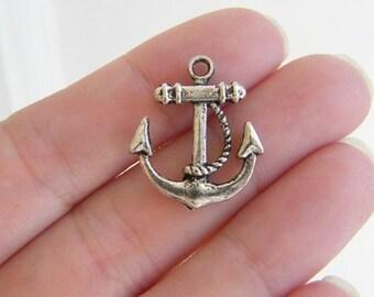 6 Anchor pendants antique silver tone AN10