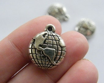 6 Globe charms antique silver tone WT63