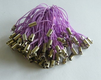 20 Cell phone straps or cords 50mm light purple and silver tone