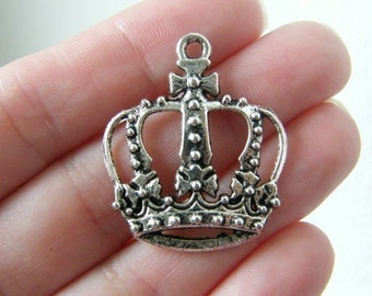 4 Crown pendants antique silver tone CA39