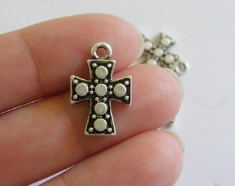 8 Cross charms antique silver tone C31