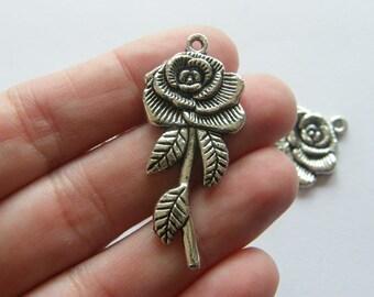 BULK 20 Rose pendants antique silver tone F31 - SALE 50% OFF