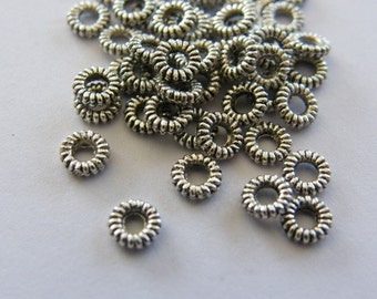 100 Spacer beads antique silver tone S3