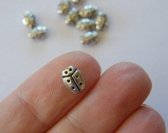 18 Ladybird or ladybug  spacer beads tibetan silver A131