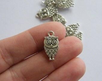 8 Owl charms tibetan silver O33