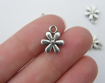 12 Flower charms antique silver tone F4