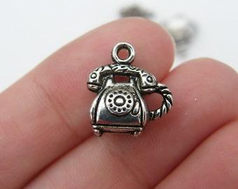6 Telephone charms tibetan silver PT52