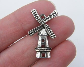 BULK 30 Windmill charms antique silver tone WT81