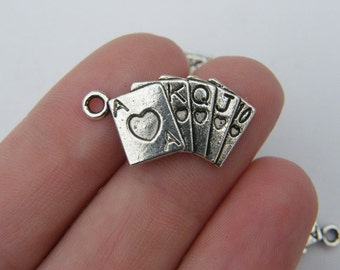 8 Poker playing card charms antique silver tone P280