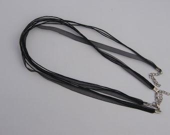 5 Black ribbon voile necklace cords 46cm
