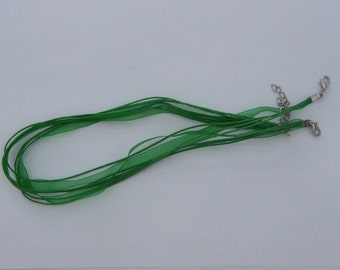 5 Christmas green ribbon voile necklace cords 46cm - great for Christmas projects