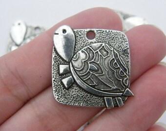4 Tortoise pendants antique silver tone FF134