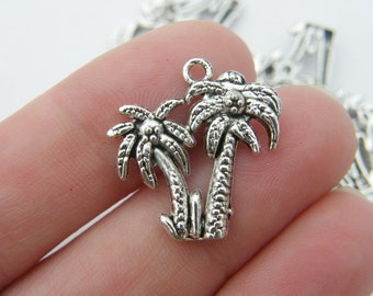 6 Palm tree charms antique silver tone T23
