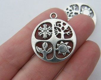 BULK 20 Four seasons pendants antique silver tone L108