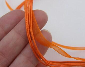 5 Orange ribbon voile necklace 46cm